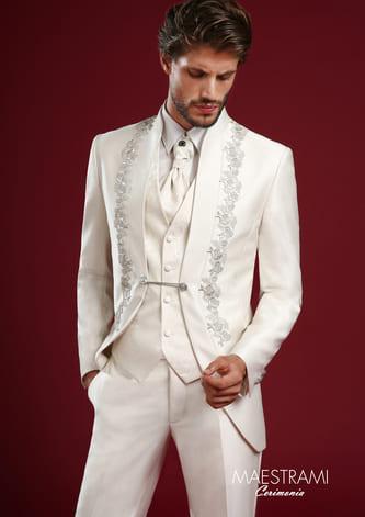abito damascato con bottoni laterali maestrami