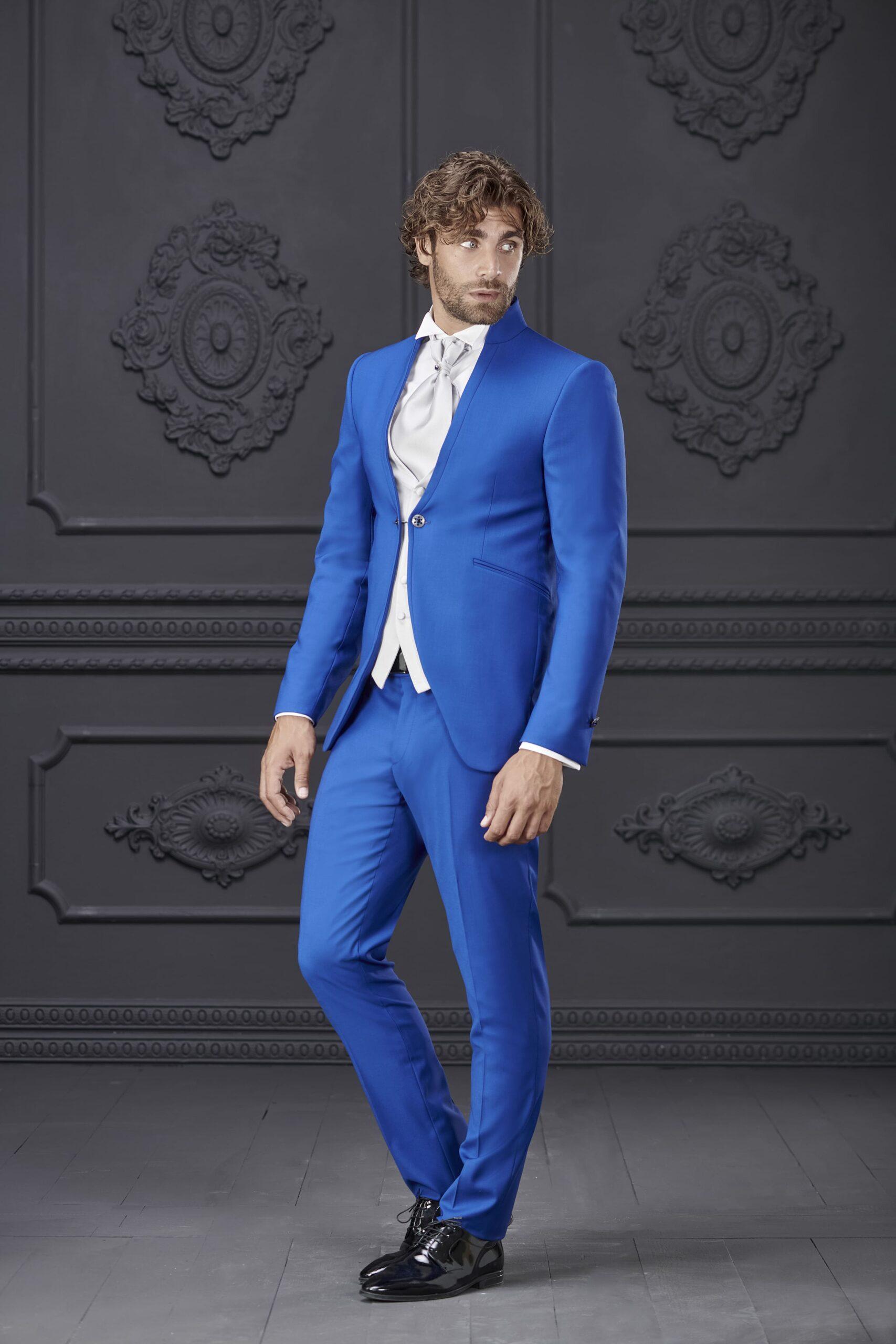 abito lungo damascato blu giuseppe rocchini
