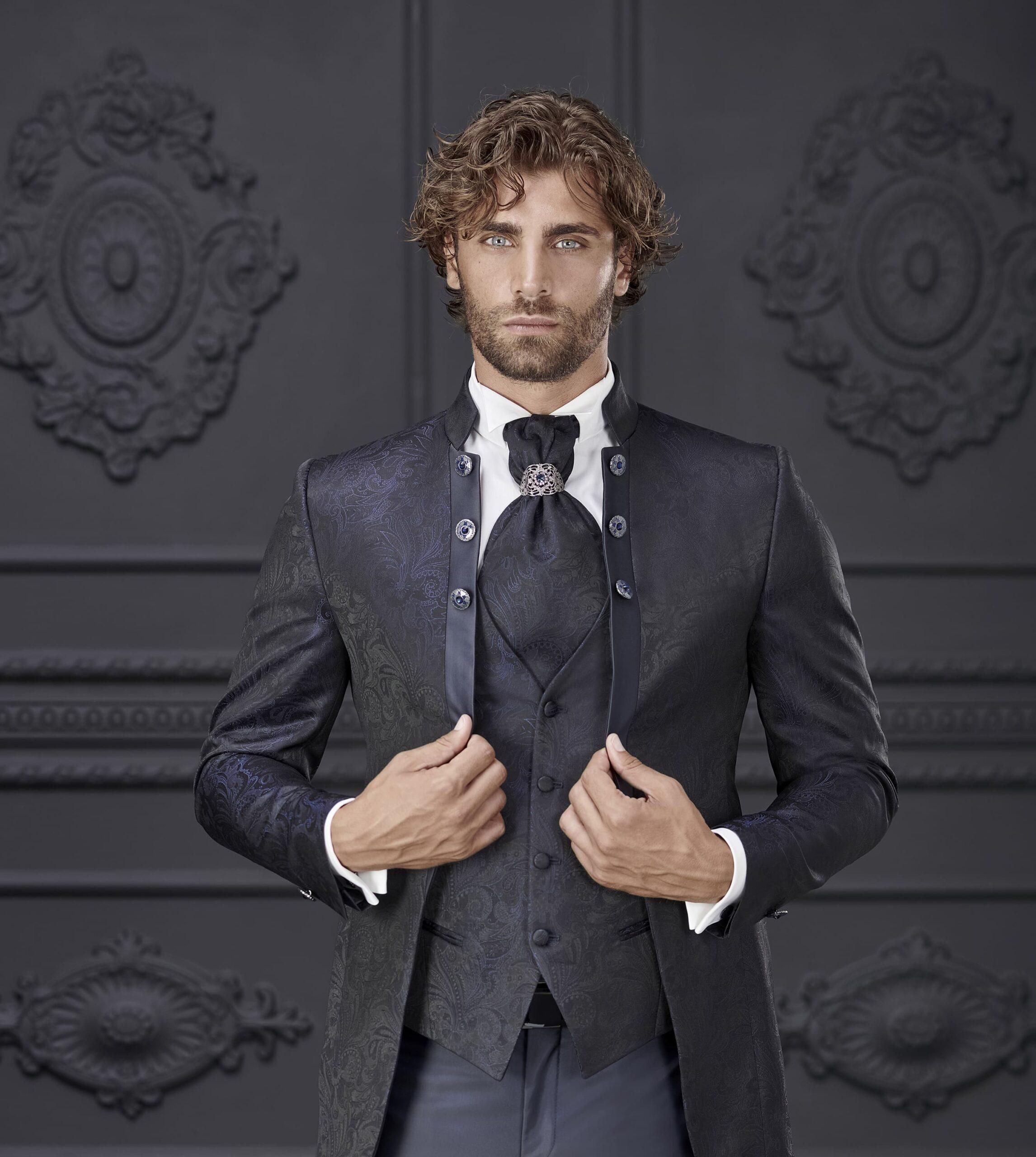 abito blu liscio con bottoni laterali giuseppe rocchini