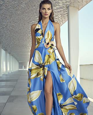 vestito lungo blu con fiori gialli gonna carla ruiz