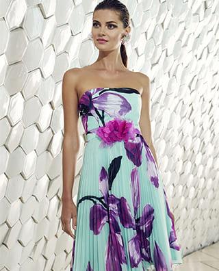 vestito lungo verde acqua con fiori viola cala ruiz