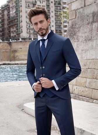 abito blu elettrico doppio bottone pat maseda 2020