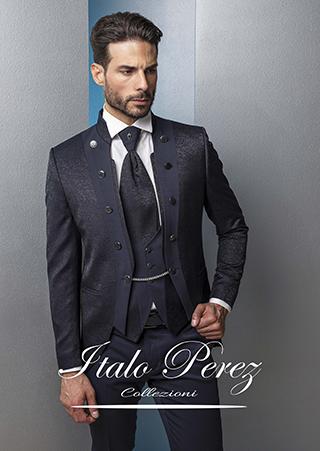 abito con bottoni laterali damascato blu lubiam