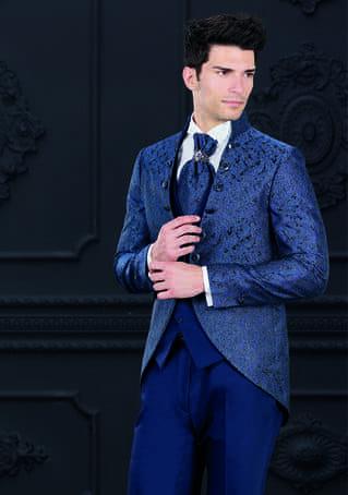 abito damascato blu con bottoni laterali