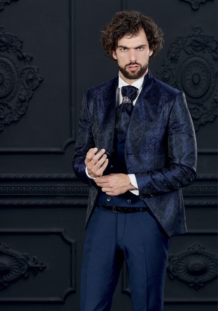 abito damascato blu giuseppe rocchini