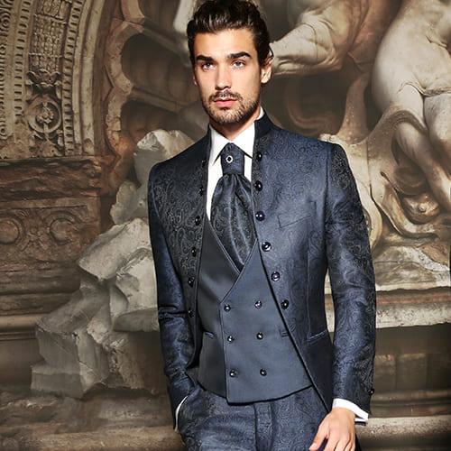 giacca lunga con bottoni laterali damascato blu maestrami