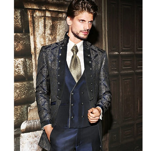 giacca lunga damascata oro e blu maestrami cerimonia